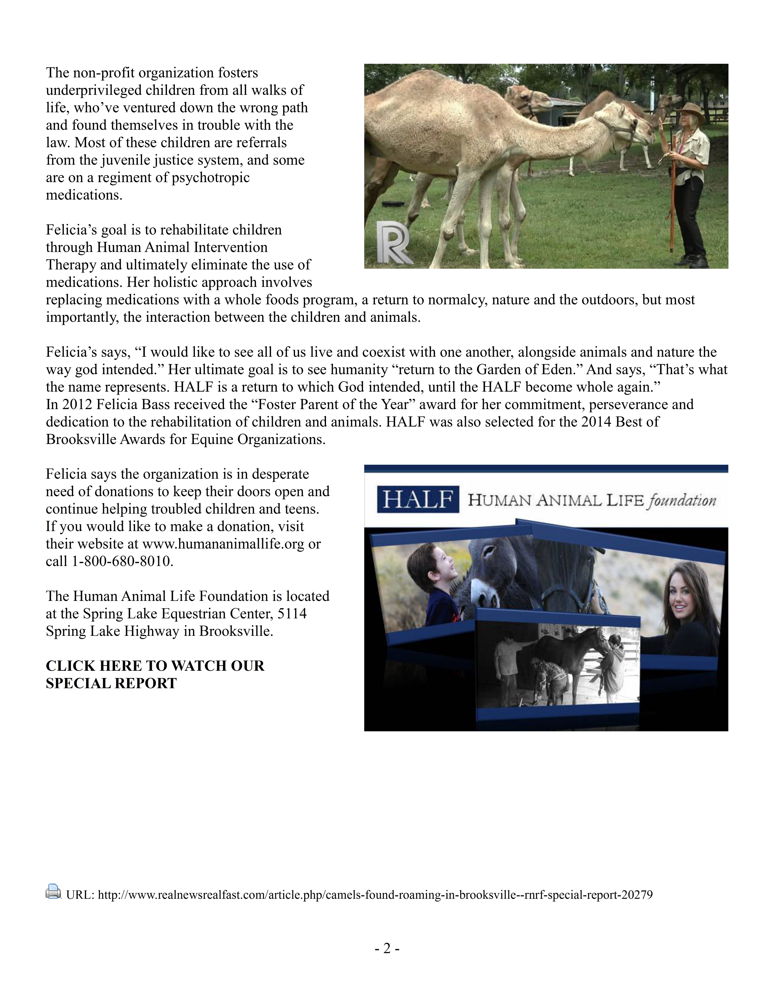Camels Found Roaming in Brooksville - RNRF Special Report 09-14-2014 Pg2