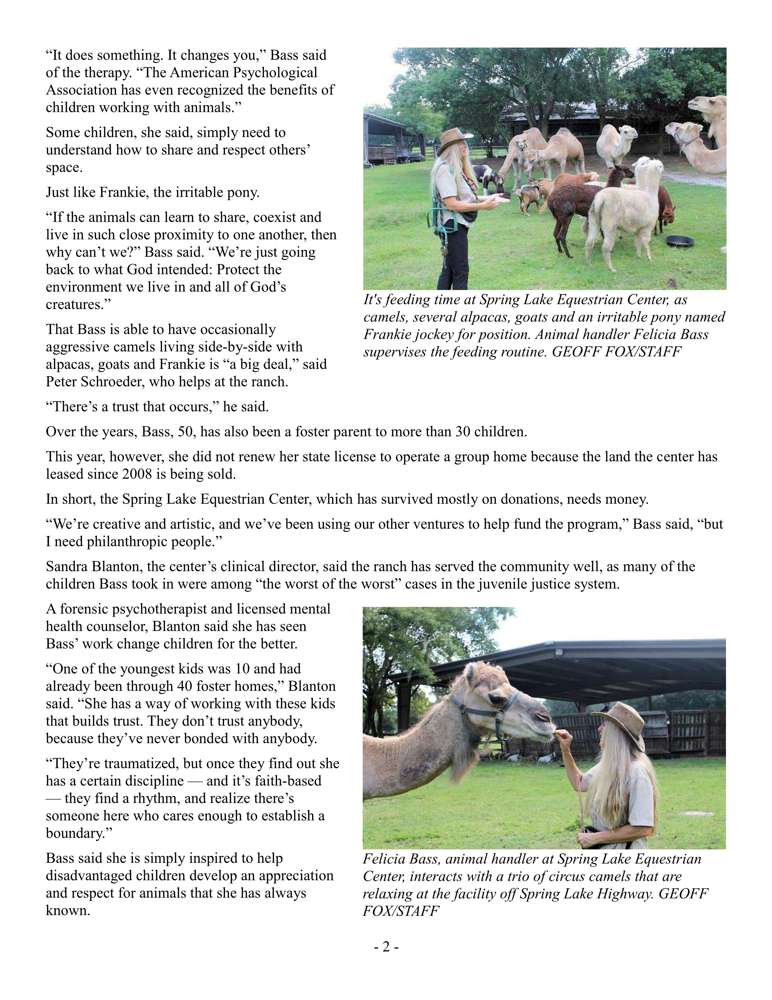 Spring Lake woman rescues camels, horses, wayward teens 09-04-2014 Pg2